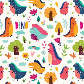 Dinosaurs in forest