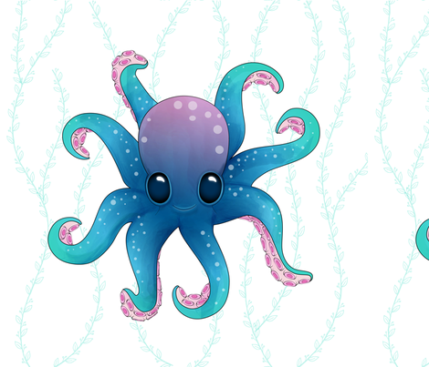 Octopus Friend_Pillow_18x18in fabric by mia_valdez on Spoonflower - custom fabric
