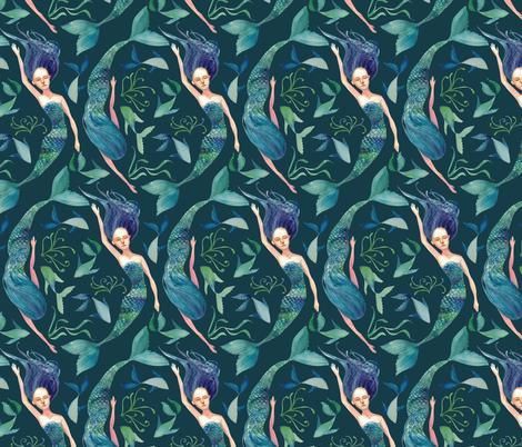 Mermaid Swim {Sea Blue} fabric by ceciliamok on Spoonflower - custom fabric