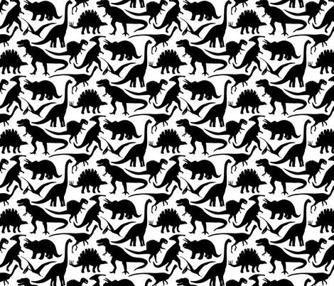 Little Dinosaur friends - Black fabric by jillbyers on Spoonflower - custom fabric