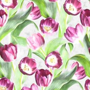 Mother's Day Painted Tulips on Grey small version