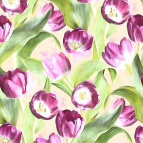 Mother's Day Painted Tulips on Cream small version