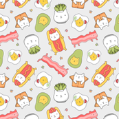 funny cat food succulent pattern