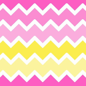 Hot Pink Yellow Ombre Chevron Zigzag Pattern Large