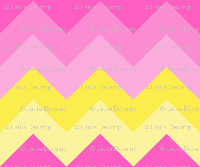Hot Pink Yellow Ombre Chevron Zigzag Pattern