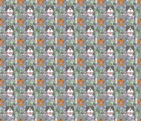 Floral American Bully portraits C - small fabric by rusticcorgi on Spoonflower - custom fabric