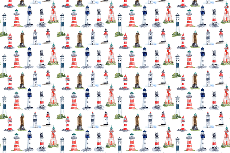 Swedish Lighthouses fabric by annahedeklint on Spoonflower - custom fabric