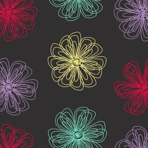 Scribble Flowers (grey palette)