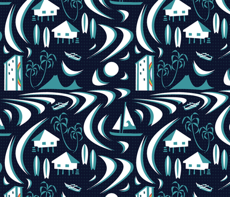 Rainbow tower in the moonlight fabric by rikkandesigns on Spoonflower - custom fabric