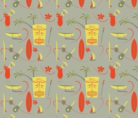 Retro Hawaii - Grey, yellow, red, green fabric by whyitsme_design on Spoonflower - custom fabric