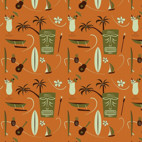 Retro Hawaii - orange, green, brown, light green