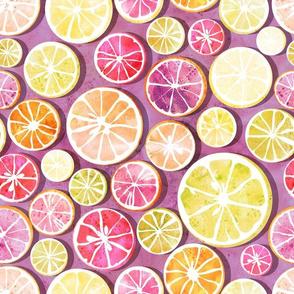 Citrus mix // pink background multicoloured oranges lemons