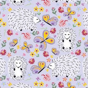 Twitterpated Purple Garden Hedgehogs Fabric - Twitterpated Lillac By Applebutterpattycake - Hedgehogs Cotton Fabric By The Yard With Spoonflower