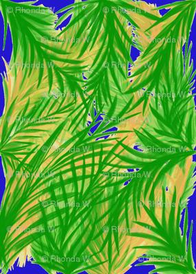 Tropical Trellis on Moonshine Blue - Large Scale