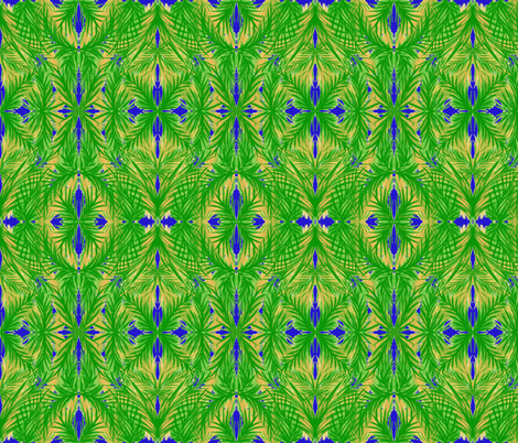 Tropical Trellis on Moonshine Blue - Large Scale fabric by rhondadesigns on Spoonflower - custom fabric