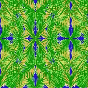 Tropical Trellis on Moonshine Blue - Large Scale