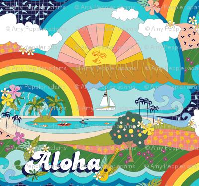 Aloha, Anuenue! (Hello, Rainbow!) || Hawaii Hawaiian tropical Polynesian rainbow palm trees flowers hibiscus plumeria sun sunset sunrise ocean diamond head waves sailboat memphis