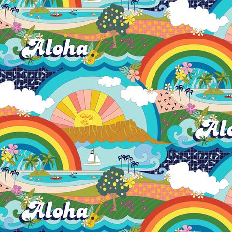 Aloha, Anuenue! (Hello, Rainbow!) || Hawaii Hawaiian tropical Polynesian rainbow palm trees flowers hibiscus plumeria sun sunset sunrise ocean diamond head waves sailboat memphis fabric by pennycandy on Spoonflower - custom fabric