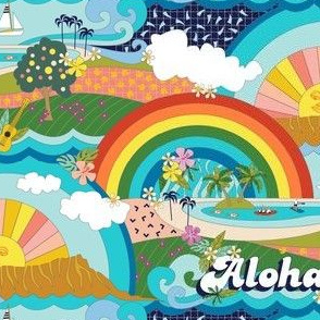 Aloha, Anueue! (Hello, Rainbow!) || Hawaii Hawaiian tropical Polynesian rainbow palm trees flowers hibiscus plumeria sun sunset sunrise ocean diamond head waves sailboat memphis