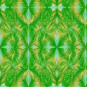 Tropical Trellis on Sea Foam - Medium Scale
