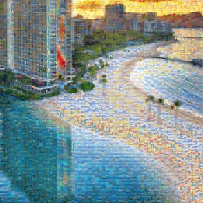 Hawaii Vacation PhotoMosaic Rainbow Tower