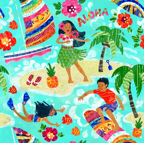 Hanging Loose at Hilton Rainbow Tower Lagoon fabric by sarah_treu on Spoonflower - custom fabric