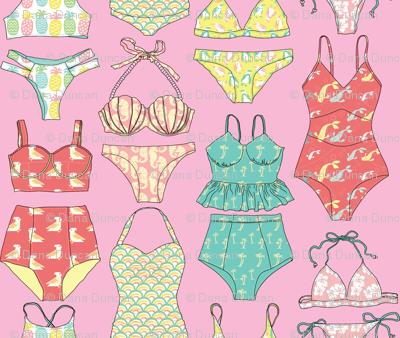 Waikiki Bikinis! in Hibiscus Pink