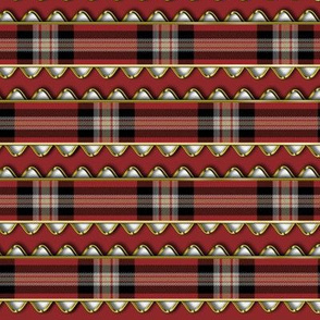 Red Plaid Ribbon Edged in Faux Gold Rick Rack on Red