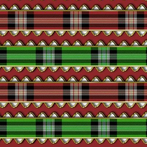 Red and Green Plaid Ribbon Edged in Fake Gold Rick Rack