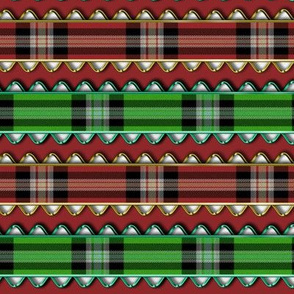 Red and Green Plaid Ribbon Edged in fake Metallic Rick Rack on Red