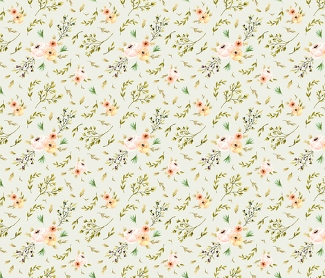 Olive Branch Meadows Flowers fabric by deniseanne on Spoonflower - custom fabric