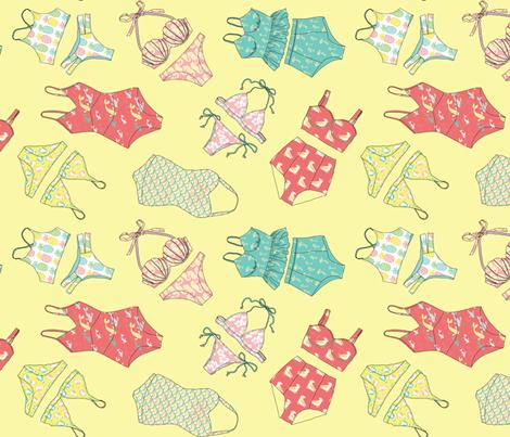 Waikiki Bikinis Scatte in Sunset Yellow fabric by pinkowlet on Spoonflower - custom fabric