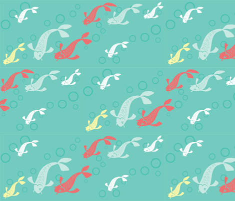 Blue Swimming Koi fabric by pinkowlet on Spoonflower - custom fabric