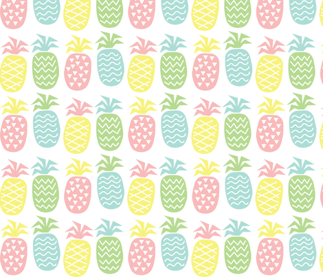 Crazy Pastel Pineapples fabric by pinkowlet on Spoonflower - custom fabric