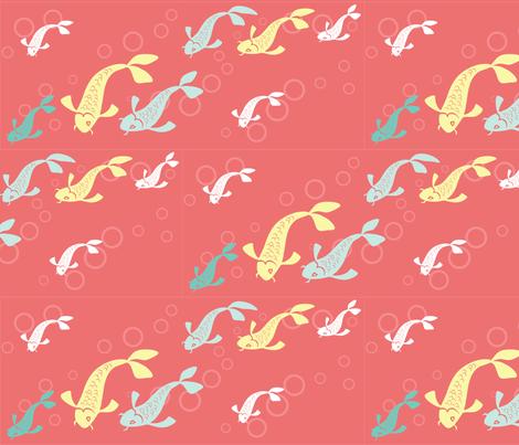 Swimming Koi fabric by pinkowlet on Spoonflower - custom fabric
