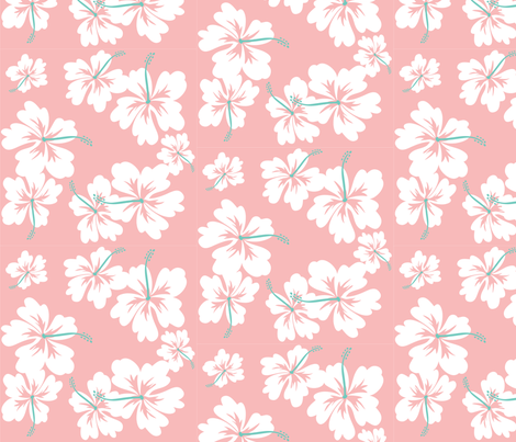 Pink Hibiscus fabric by pinkowlet on Spoonflower - custom fabric