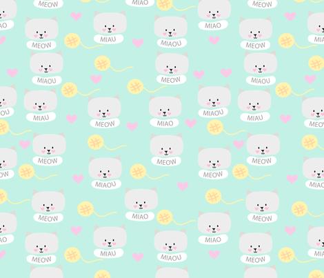 Cat pattern mint fabric by yolidoo on Spoonflower - custom fabric