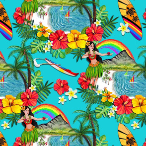 _TK-All_ORIGINAL_ART_Teal-Hawaii_Rainbow-Wk_One-150dpi