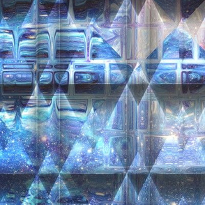 GHOSTLY SURREAL FANTASY PYRAMID BLUE CITY ABSTRACT