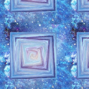 PAINTED MARBLE ART MARBLE  SQUARES  BLUE ON NEBULA SKY