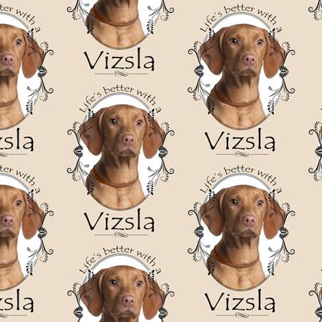 Life's Better Vizsla #1 fabric by pateisen on Spoonflower - custom fabric