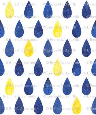 Raindrops - blue with yellow