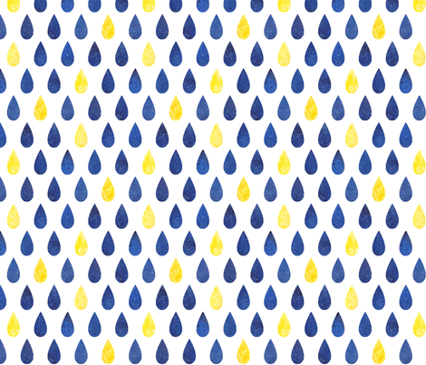 Raindrops - blue with yellow fabric by emeryallardsmith on Spoonflower - custom fabric