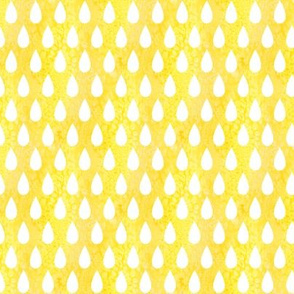 Raindrops - white on yellow - smaller scale