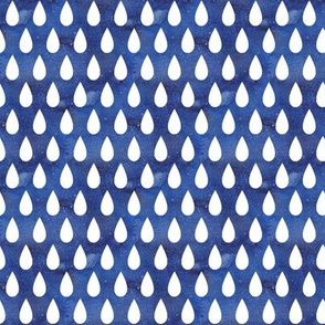 Raindrops - white on blue - small scale