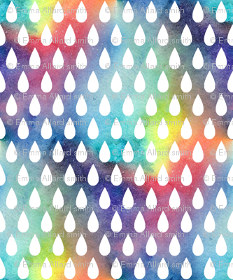 Raindrops - white on rainbow - larger scale