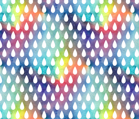 Raindrops - white on rainbow - larger scale fabric by emallardsmith on Spoonflower - custom fabric