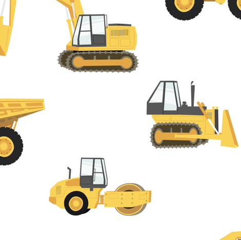 (large) construction trucks - yellow on white fabric by littlearrowdesign on Spoonflower - custom fabric