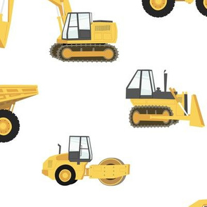 (large) construction trucks - yellow on white