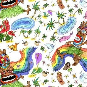 Hawaiian island tiki play date, large scale, white colorful rainbow